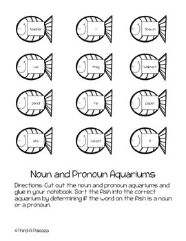 Noun & Pronoun Interactive Notebook Sort - Aquarium Themed