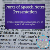 Parts of Speech Notes Presentation