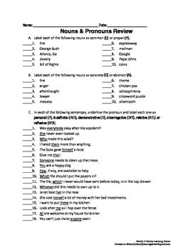 Noun & Pronoun Review Worksheet