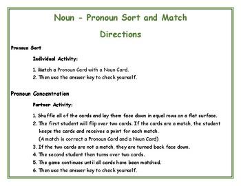 Noun  - Pronoun Sort and Match