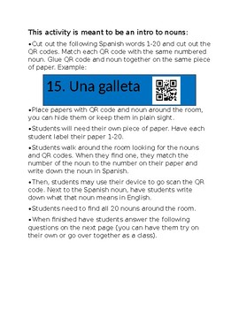 Spanish Noun QR Code Activity