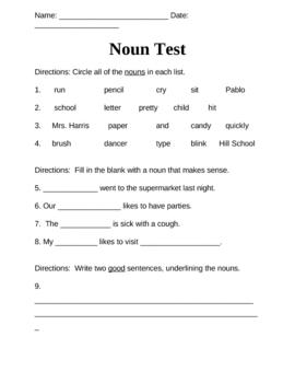 Noun Quiz by Robyn Palmer | Teachers Pay Teachers