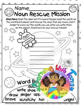 Noun Rescue Mission: The Literacy Galaxy Freebie