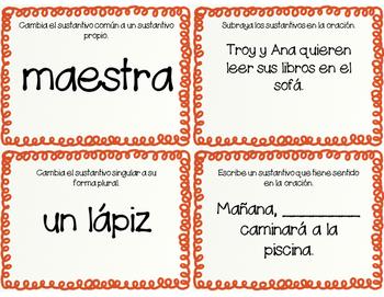 Noun Review Task Cards/ Repaso de los Sustantivos Tarjetas de Practica