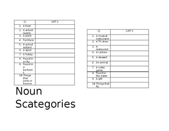 Noun Scategories Lists- Noun Games