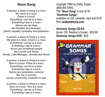 "Noun Song Lyrics from ""Grammar Songs"" by Kathy Troxel"