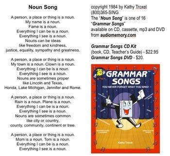 "Noun Song Lyrics from ""Grammar Songs"" by Kathy Troxel"