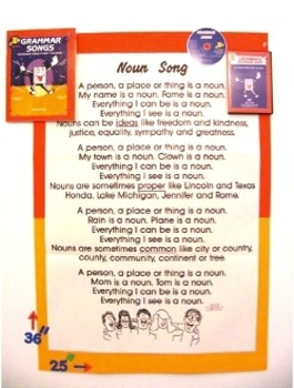 """Noun Song"" Poster from ""Grammar Songs"" by Kathy Troxel/Audio Memory"