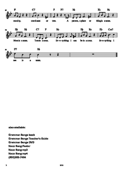 Noun Song Sheet Music with Chords and Melody by Kathy Troxel