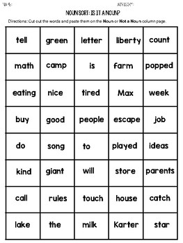 Noun Sort (An Activity for Identifying Nouns)
