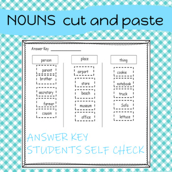 Sorting Nouns by Person, Place, or Thing  Cut and Paste Activity