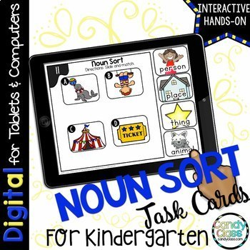 Kindergarten Noun Sort Digital Task Cards - Paperless
