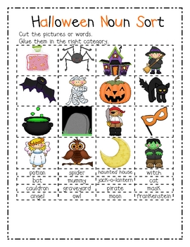 Noun Sort- Fall and Halloween