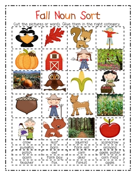 Noun Sort- Fall and Halloween