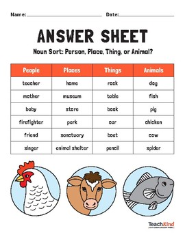 Noun Sort: Person, Place, Thing or Animal