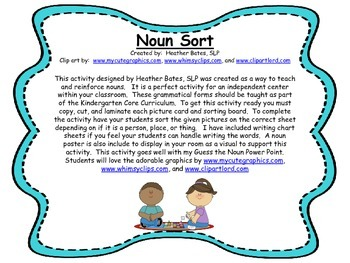 Noun Sort - Person, Place, or Thing