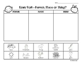 Noun Sort - Person Place or Thing? 3 Leveled Worksheets