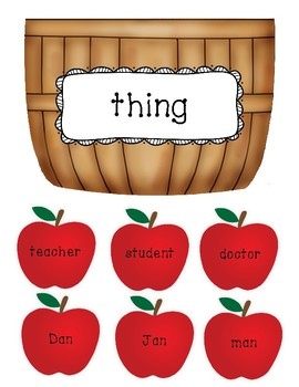 Noun Sort Center - Person, Place, or Thing (Apple Picking)