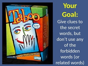 """Noun """"Taboo"""" word game - review and practice nouns and synonyms"""