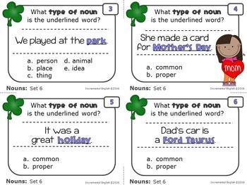 Noun Task Cards {common, proper, singular, plural, possessive}