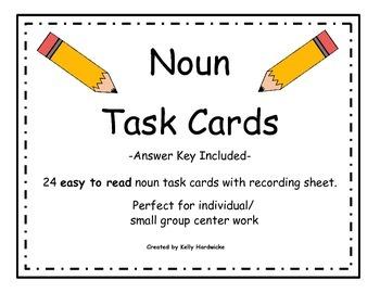 Noun Task Cards (Easy to Read)