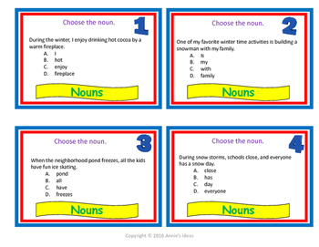 Noun Task Cards Elementary, Middle School, Home School
