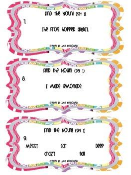 Noun Task Cards Pack