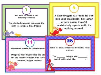 Noun Task Cards: Set of 40 Dragon-Themed Task Cards