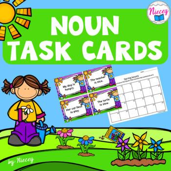 Noun Task Cards - Spring