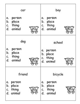 Nouns Scoot game or task cards for 1st grade