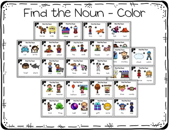 Kindergarten Noun Task Cards with Anchor Charts & Games - Kindergarten Grammar