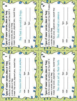 Noun Task Cards (type, common, proper) print and digital version