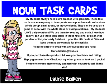 Noun Task Cards with Recording Sheets, 24 cards for each section