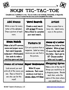 Noun Tic-Tac-Toe from Teacher's Clubhouse