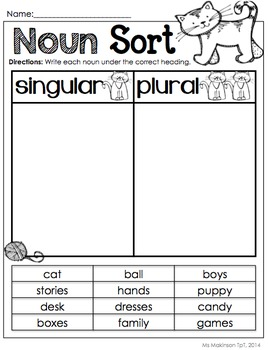nouns by ms makinson teachers pay teachers. Black Bedroom Furniture Sets. Home Design Ideas