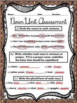 Noun Unit Assessment