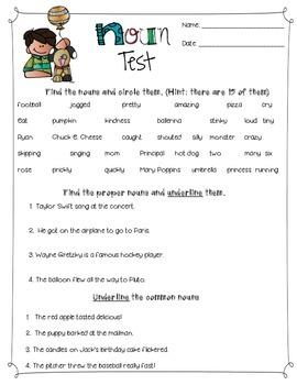 Noun Unit Review/ Assessment