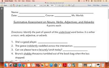 Noun, Verb, Adjective, & Adverb Assessment