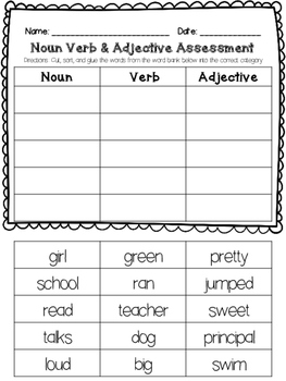 Nouns Verbs Adjectives Worksheets Kindergarten