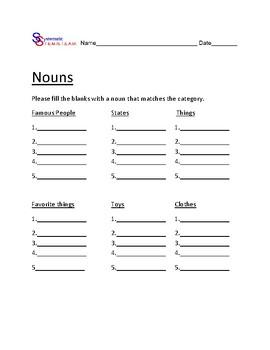 Noun, Verb, Adjective Bundle 6 worksheets - lists