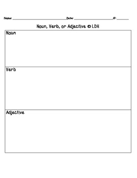 Noun, Verb, Adjective Center