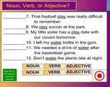 Noun Verb Adjective Exercise Game for Smartboard