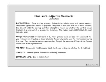 Noun-Verb-Adjective Flash Cards