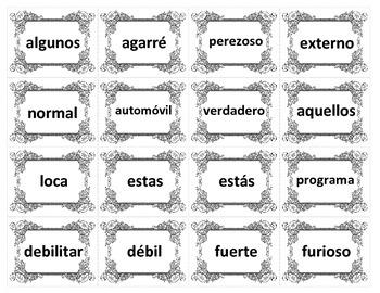 Noun-Verb-Adjective Flashcards - SPANISH