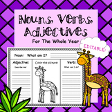 Noun, Verb, Adjective Practice - (Worksheets For the Year)