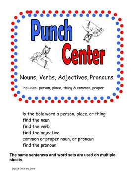 Noun Verb Adjective Pronoun Punch Center Activity
