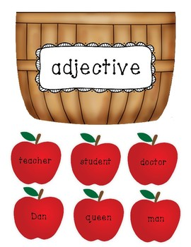 Noun, Verb, Adjective Sort Center - Apple Picking
