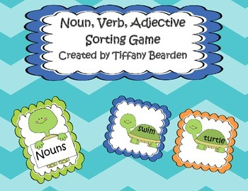 Noun Verb Adjective Sort - Turtles