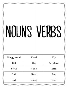 Noun, Verb, Adjective Sort and Interactive Notebook Page