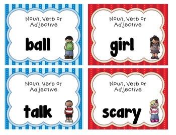 Noun, Verb Adjective Sort or Scoot
